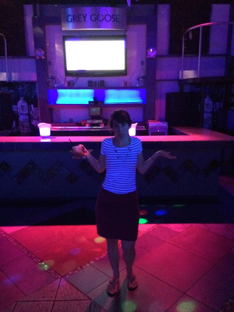 Party of one, in the club.