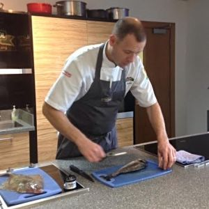 Head Chef Andy Beattie demonstrates how to fillet round and flat fish