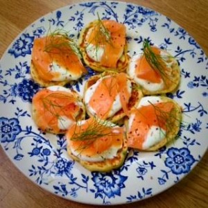 The impressive Pea and Mint Pancakes with Scottish Smoked Salmon and Creme Fraiche are ideal canapes for serving with drinks.