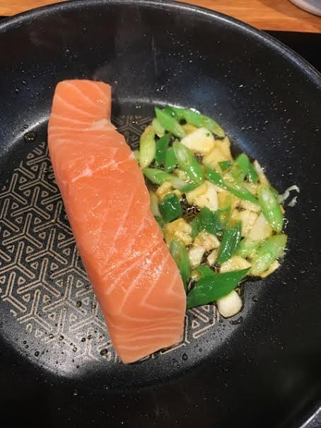 salmon with miso broth