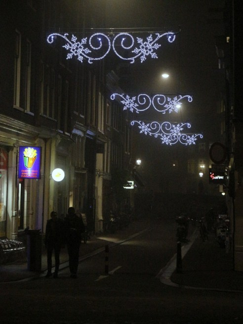 elegant sparkle on the shopping streets in the fog