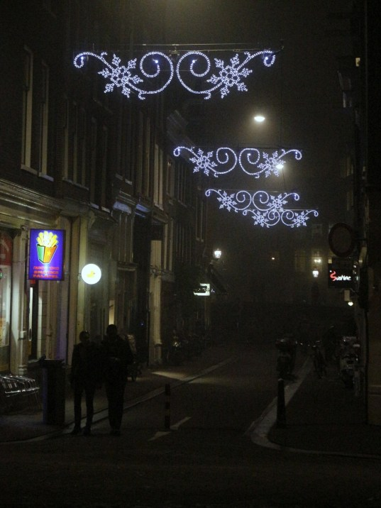 elegant sparkle on the shoppingstreets in the fog