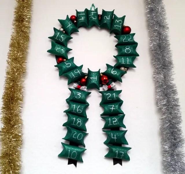 DIY upcycled toilet roll advent calendar wreath tutorial