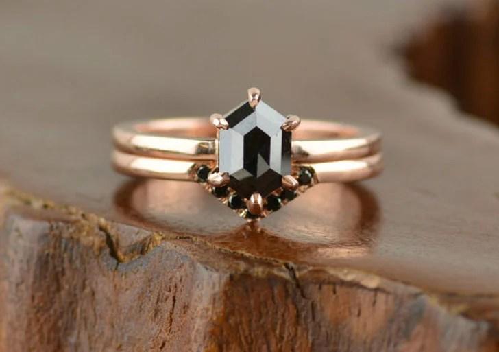 Hexagon Black Diamond Engagement Ring