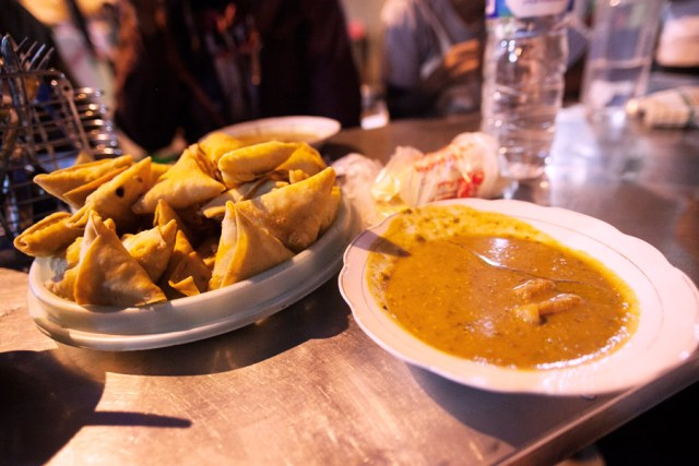 Samosa and mutton curry in Kampung Arab