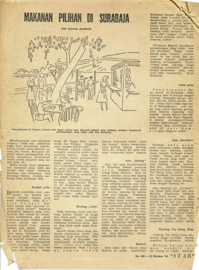 Makanan Pilihan di Surabaja Star Weekly 1954