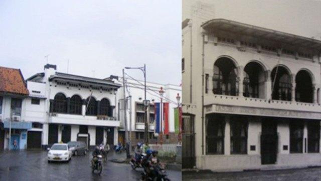 Foto 2: De Nederlanden 1845 di Jakarta (Foto kiri oleh penulis tahun 2010, kanan dari buku Sergio Polano, <em>Hendrik Petrus Berlage: The Complete Works</em> (1988)