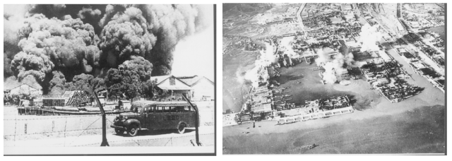 "erang Dunia II akhirnya ""mampir"" juga ke Perak. Foto yang diambil P.van Overbeek menggambarkan depo BBM milik BPM (perusahaan minyak Belanda) yang terbakar di bom pesawat Jepang. Di foto kanan yang diambil oleh sebuah pesawat pembom Boston, tampak Pangkalan AL Ujung dalam serangan udara dari pesawat-pesawat Amerika pada 17 Mei 1944."