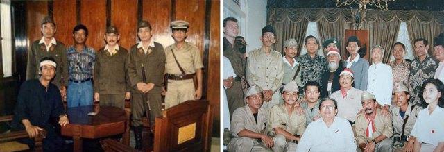 Kiri: Satu sesi di sela shooting yang menggambarkan mediasi di Gedung Kempetai. Tampak Soetanto Soepiadhy yang berperan sebagai Prof. DR. Moestopo duduk di kiri depan. | Kanan: Para Kru dan pemeran film saat berfoto bersama Gubernur Jawa Timur Soelarso setelah Soerabaia '45 masuk nominasi FFI 1991.