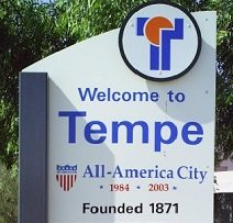 Welcome sign to Tempe.