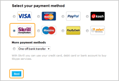 How do I pay using Skrill (Moneybookers)?