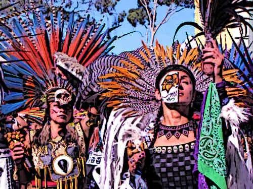 Aztec Women dancers in traditional costumes