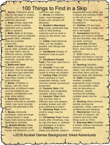 100 Things to Find in a Skip