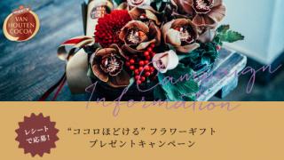 """2018/1/31片岡物産 バンホーテンココアで""""ココロほどける""""フラワーギフトプレゼントキャンペーン"""