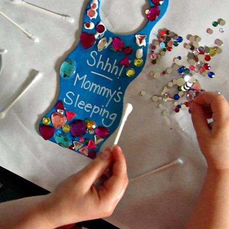 Mommy's Sleeping Door Hanger Mother's Day Kids Craft from B-InspiredMama.com