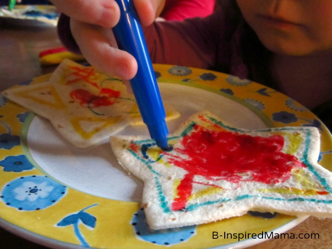 Kid Drawing on a Star Quesadilla Snack at B-InspiredMama