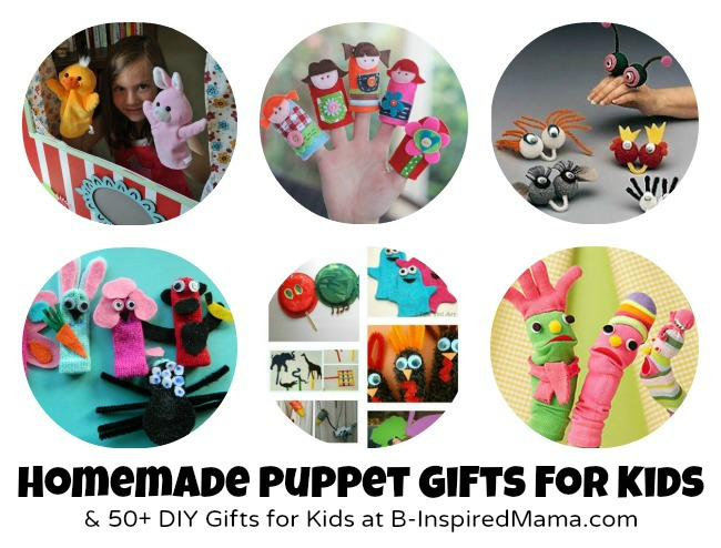 Handmade Puppets + 50 More Gifts for Kids at B-InspiredMama.com