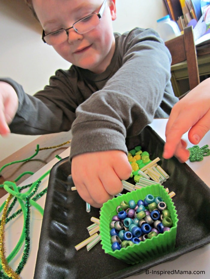 Kids Making a St. Patrick Craft Crown at B-InspiredMama.com