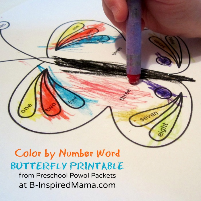 Color by Number Words Butterfly Printable