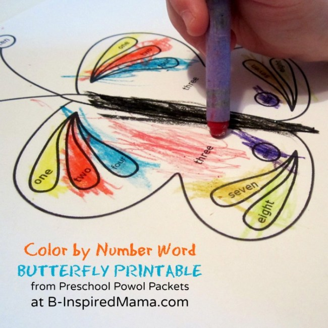 Color by Number Word Butterfly Printable from Preschool Powol Packets and B-InspiredMama.com