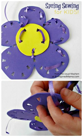 DIY Flower Kids Sewing Activity for Spring at B-Inspired Mama