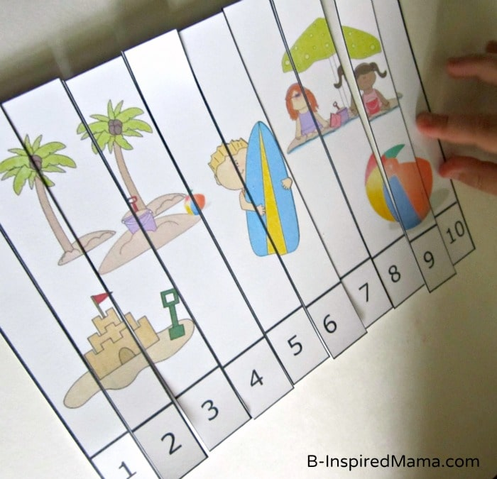 Preschool Beach Theme Number Puzzle Printable [Contributed by Preschool Powol Packets]