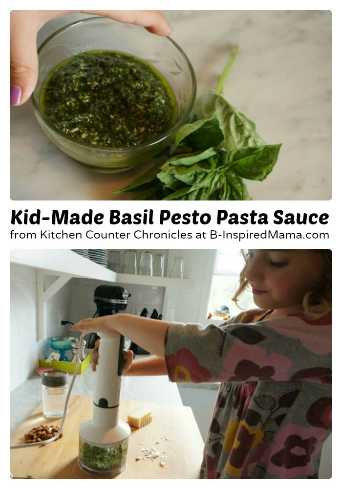 A Kids Recipe for Basil Pesto from Kitchen Counter Chronicles at B-Inspired Mama