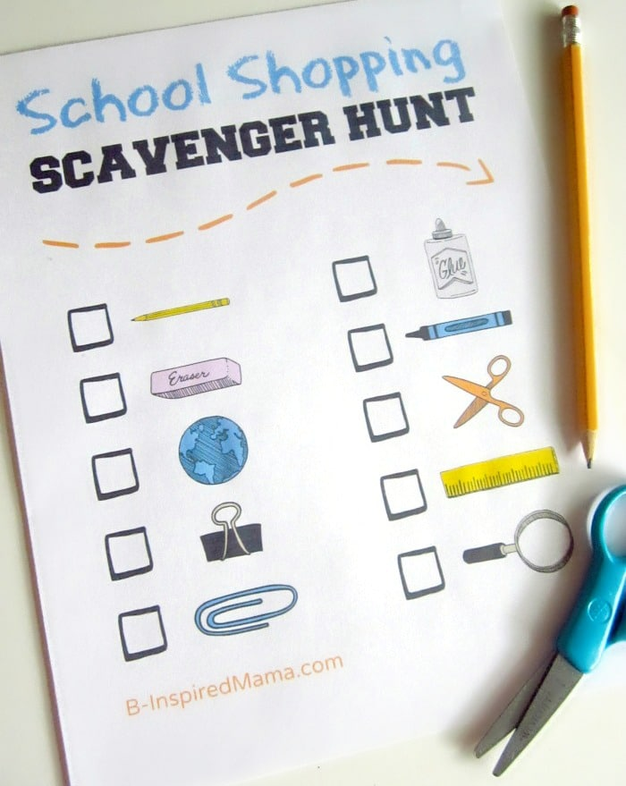 Back to School Shopping Scavenger Hunt Printable at B-Inspired Mama