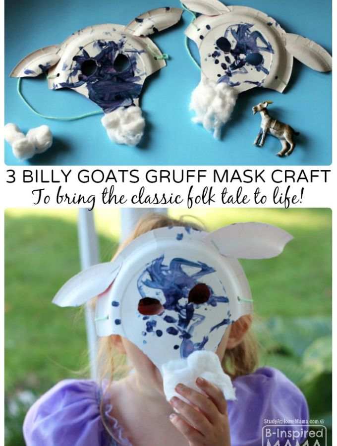 A Fun Billy Goats Gruff Paper Plate Mask Craft