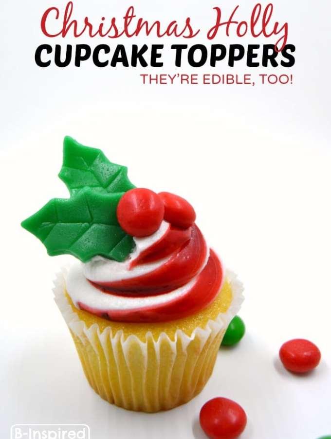 DIY Edible Cupcake Toppers for Christmas Cupcakes