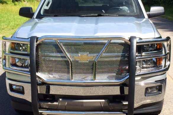 Westin HDX Grille Guard   Westin Polished Stainless Steel or Black         5948 westin hdx grille guard front chevy