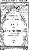 Traite des antinomies metaphysique amphitheatre des sciences mortes