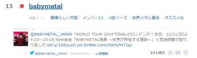 babymetal yahooトレンド