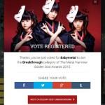 """BABYMETAL""""Metal Hammer Golden Gods Awards 2015″にノミネートされる!海外の反応 イギリス"""
