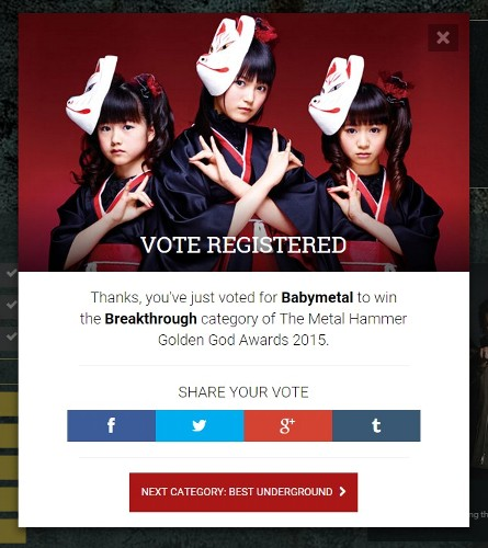 BABYMETAL Metal Hammer Golden Gods Awards 2015にノミネートされる!