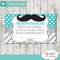 printable mustache turquoise chevron diaper raffle tickets