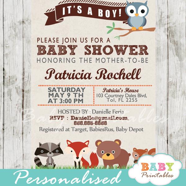 woodland baby shower invitation d137 10 00 invitation personalization