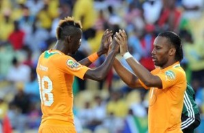 The baton is passed: Didier Drogba and Lacina Traoré