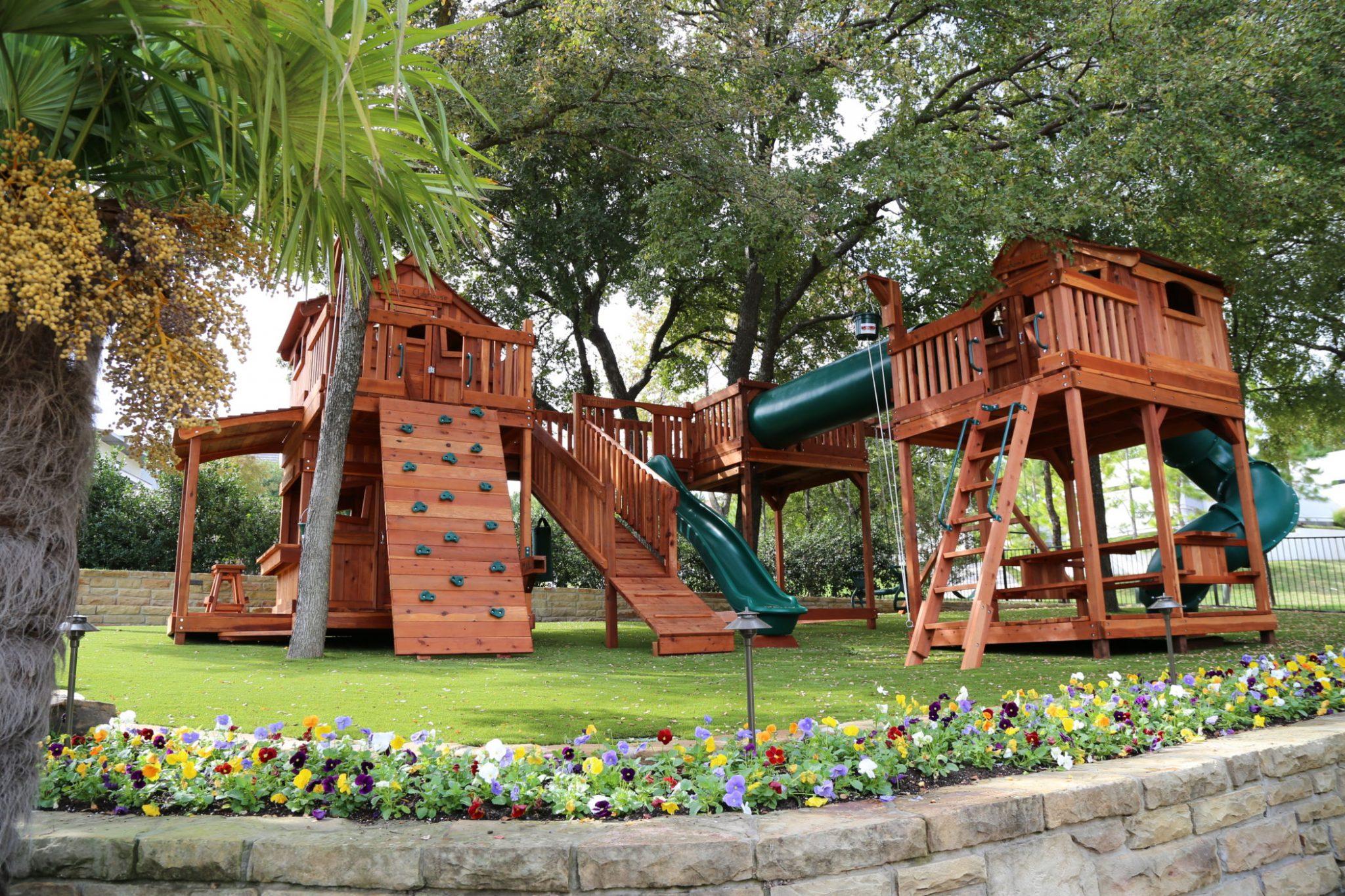 custom bridged playset, custom bridged swing set, custom wooden playset, backyard wooden swing set