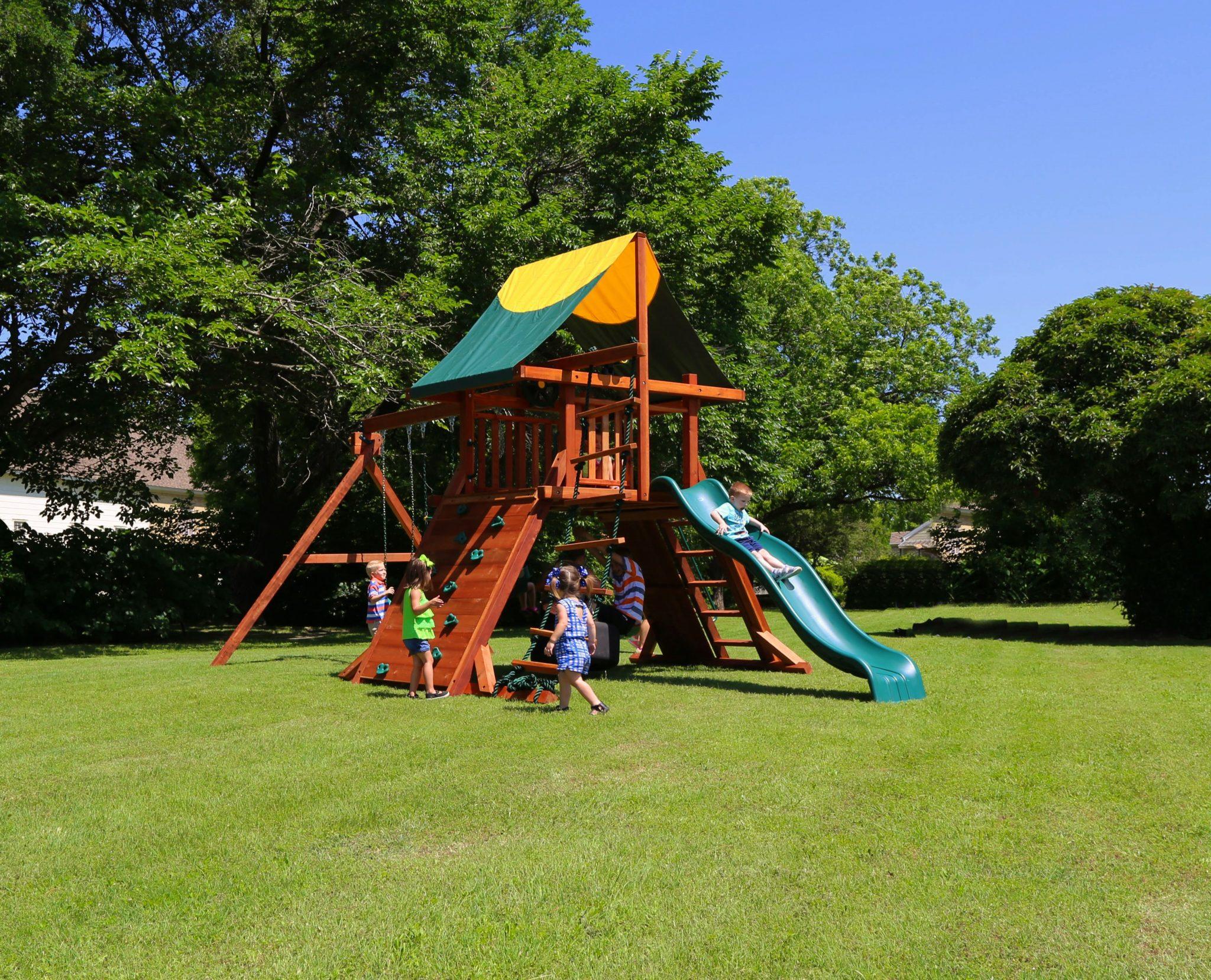 rustler, fort, backyard swing set, wood swing set, wooden swing, wooden playset
