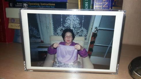 I wish I could find a better picture of Grandmama Eunice, but she sure did like purple!