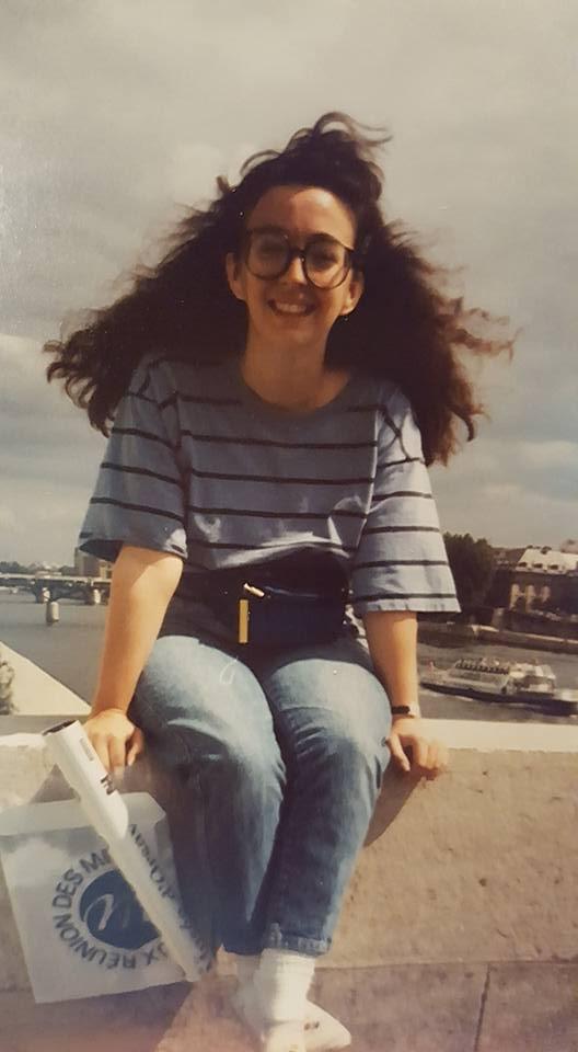 Spiral perm, fanny pack, white Keds. Paris 1990