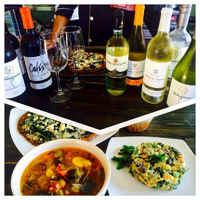 Flat Bread Friday, Fava Bean Soup with Nopal, 3 Bean Lime Mint Pesto Quinoa Salad with a nice glass of wine.