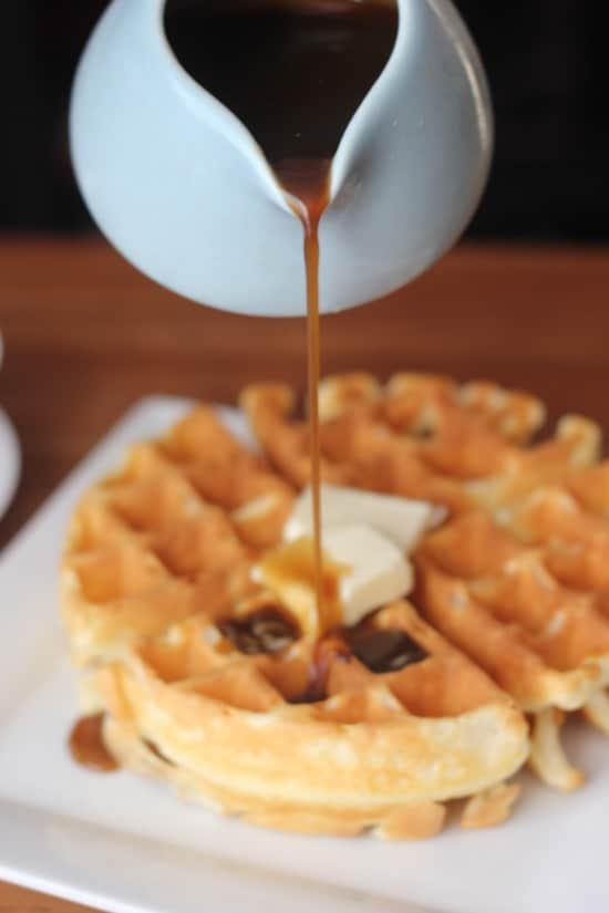 Old Fashioned Waffles with Maple Butterscotch Syrup