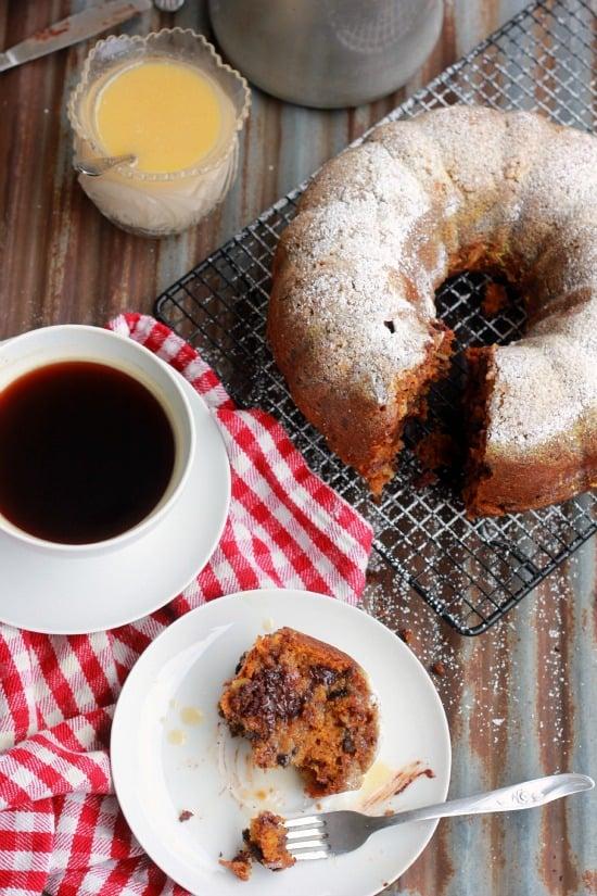 Pumpkin Coffee Cake with Walnuts and Chocolate Chips (vegan)