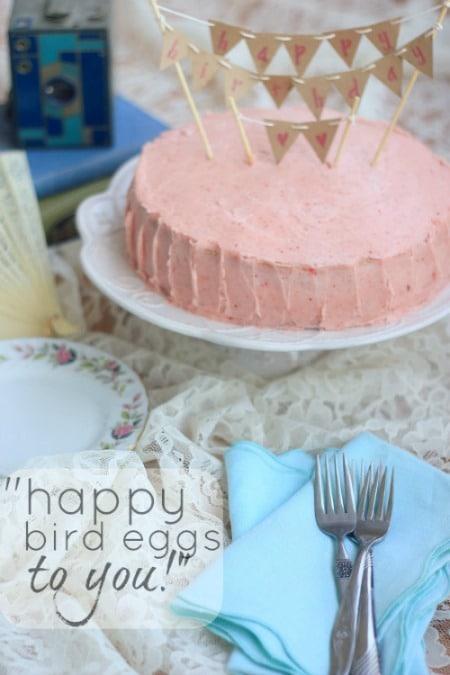 Strawberry Birthday Cake (vegan)