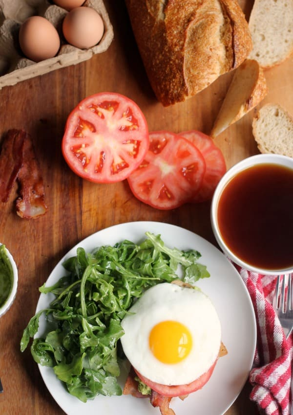 Brunch! Avocado Toast with Bacon, Tomato, and Fried Egg- Baker Bettie