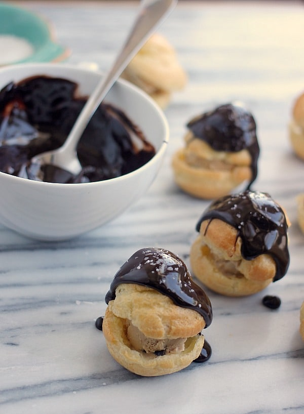 Profiteroles with Coffee Ice Cream and Chocolate Ganache- Baker Bettie