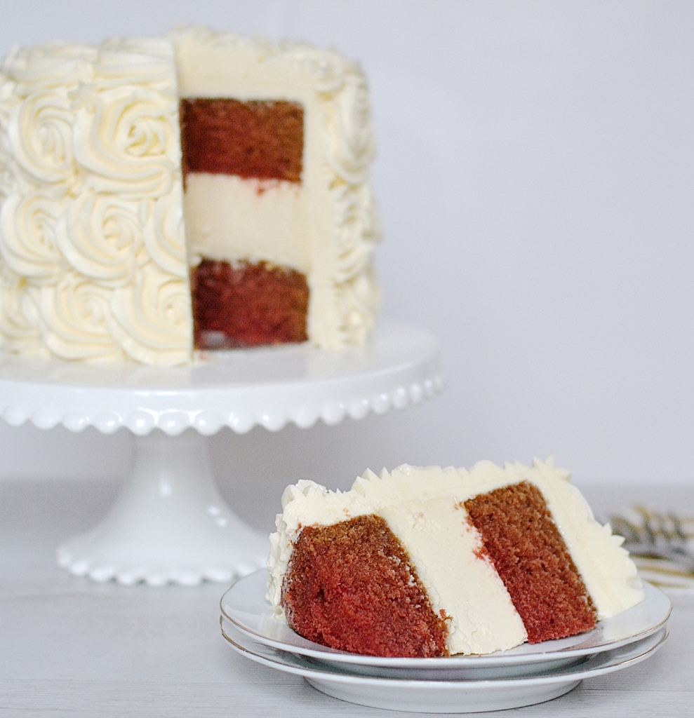Red Velvet Cheesecake Cake with White Chocolate Cream Cheese