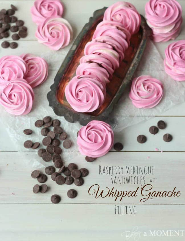 Raspberry Meringue Sandwiches with Whipped Dark Chocolate Ganache Filling | Baking a Moment